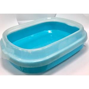 孤形半開放式貓砂盆 (連貓砂剷) 48.5CMX40CMX13CM - 藍色