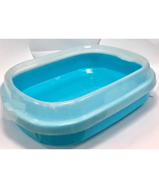 孤形半開放式貓砂盆 (連貓砂剷) 48.5CMX40CMX13CM - 藍色, 貓貓產品, Pet Elements 圓方寵物