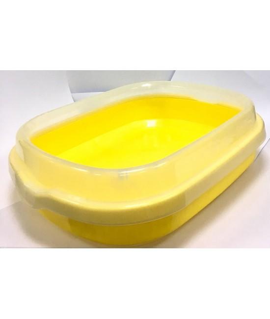 孤形半開放式貓砂盆 (連貓砂剷) 48.5CMX40CMX13CM - 黃色, 貓貓產品, Pet Elements 圓方寵物