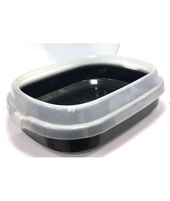 孤形半開放式貓砂盆 (連貓砂剷) 48.5CMX40CMX13CM - 黑色, 貓貓產品, Pet Elements 圓方寵物