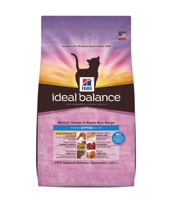 Hill's Ideal Balance Natural Chicken & Brown Rice Recipe Kittens Cat Food - 6 lb
