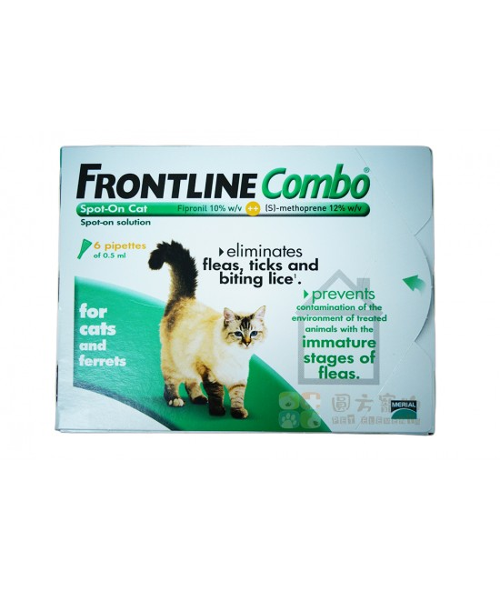 Frontline Combo 滴頸殺蚤貓 - 6支裝(綠)(英國入口), 貓貓產品, Merial