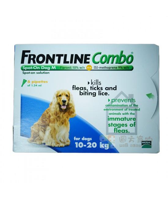 Frontline Combo 滴頸殺蚤(M)10-20公斤狗 - 6支裝(藍)(英國入口), 狗狗產品, Merial