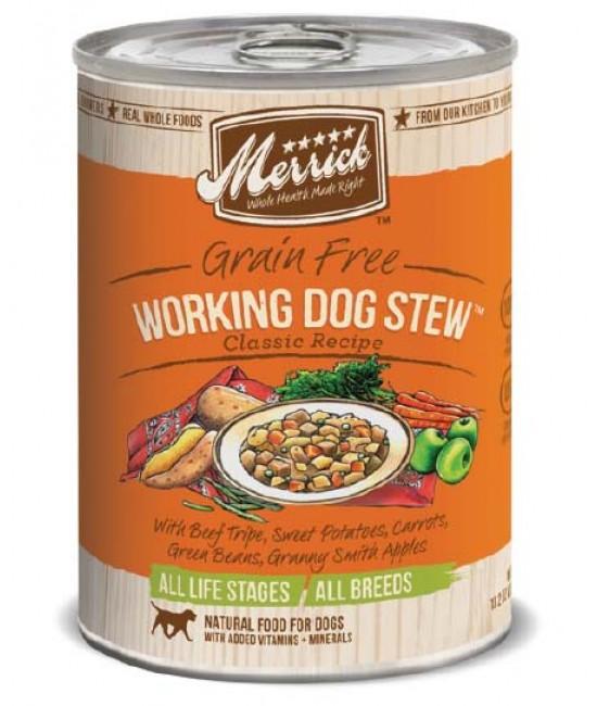 Merrick 經典系列無穀物牛肚+牛肉+雞肚+牛肝+甜薯配方狗罐頭 - 1箱12罐(每罐13.2oz)