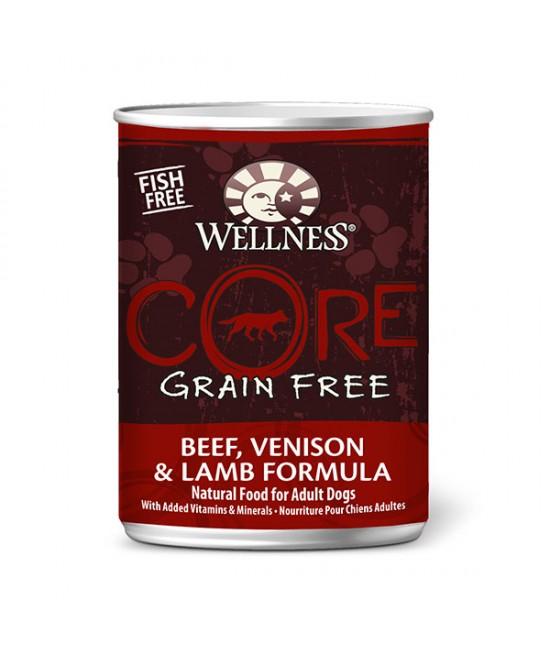 Wellness Core 無穀物狗罐頭 - 牛肉、鹿肉拼羊肉 12.5oz(12)