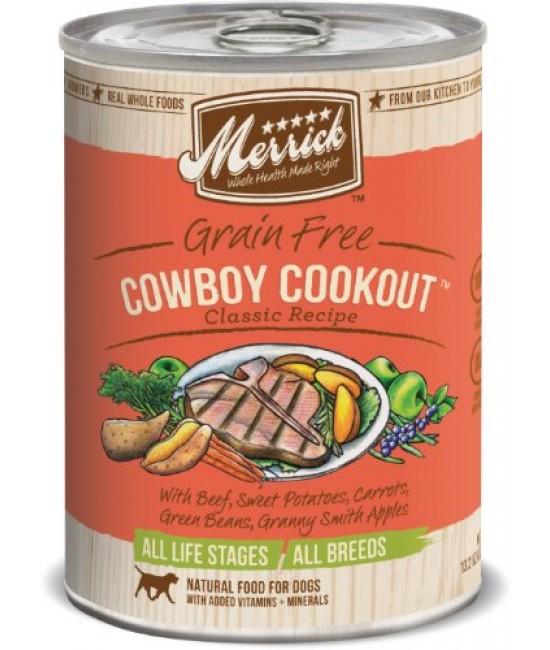 Merrick 經典系列無穀物牛肉+甜薯配方狗罐頭 - 1箱12罐(每罐13.2oz)
