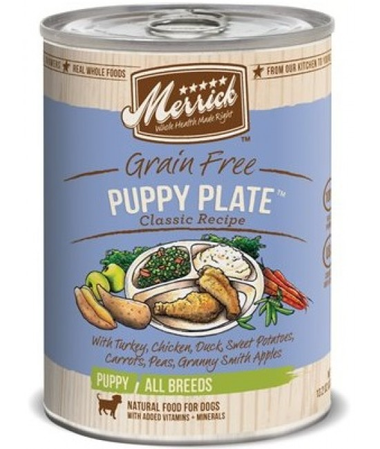 Merrick 家常系列無穀物火雞+雞+鴨+豌豆配方幼犬罐頭 - 1箱12罐(每罐13.2oz)