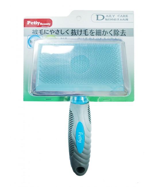 Petiy 塑膠柄長毛貓狗用按摩鋼絲針梳 - 大