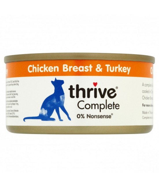Thrive 整全膳食 100%雞胸肉、火雞肉貓罐頭 - 75g