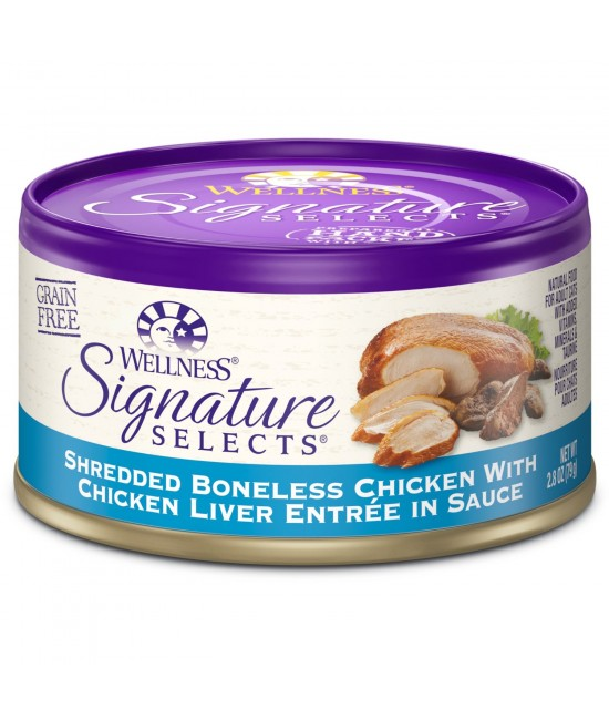 Wellness Signature 無殼物去骨雞肉、雞肝貓罐頭 - 2.8oz(79g)