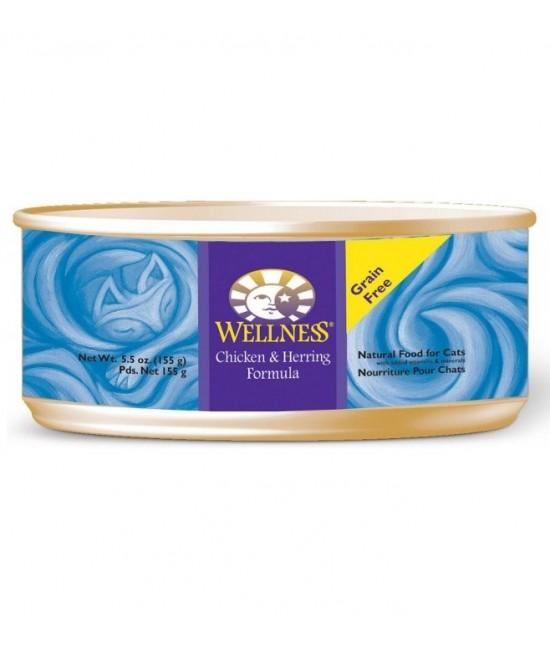 Wellness 無穀物均衡營養貓罐頭(雞肉、鯡魚) - 5.5oz, 貓貓產品, Wellness