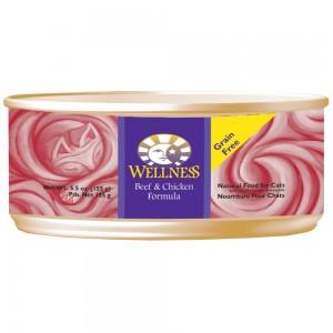 Wellness 無穀物均衡營養貓罐頭(牛肉、雞肉) - 5.5oz