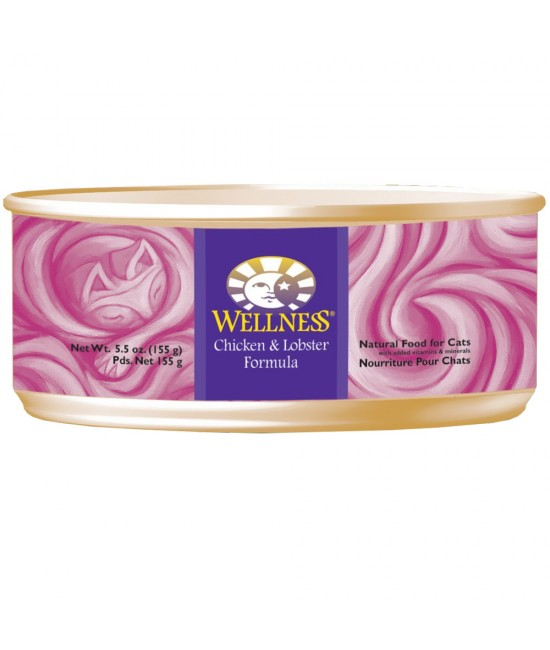 Wellness 無穀物均衡營養貓罐頭(雞肉、龍蝦) - 5.5oz, 貓貓產品, Wellness