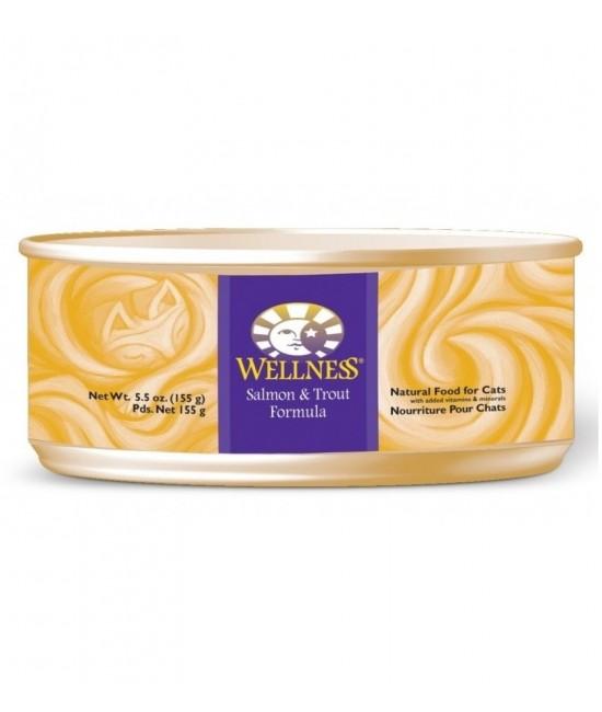 Wellness 無穀物均衡營養貓罐頭(三文魚、鱒魚) - 5.5oz, 貓貓產品, Wellness