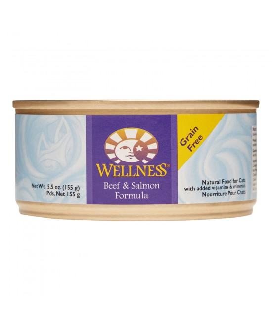 Wellness 無穀物均衡營養貓罐頭(牛肉、三文魚) - 5.5oz