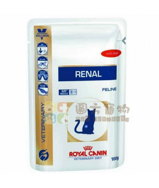 Royal Canin 法國皇家獸醫處方 腎臟護理配方牛肉味貓濕糧Renal Pouch-Beef Flavour(RF23) - 85g