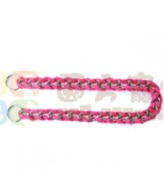 粉紅色編織鐵鍊頸圈