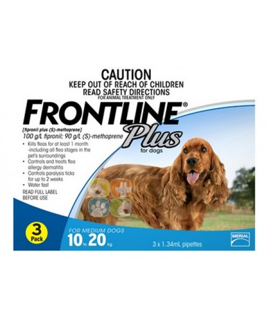 Frontline Plus 滴頸殺蚤(M)10-20公斤狗 - 3支裝(藍)